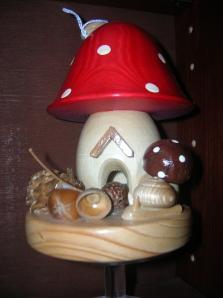 wooden mushroom house