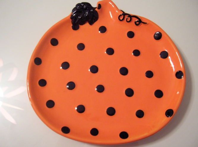 polka dot pumpkin plate