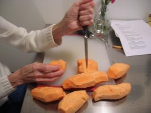 cutting yams