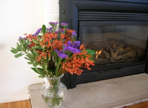 fire with flowers