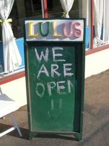 Lulu's Cafe Open Sign