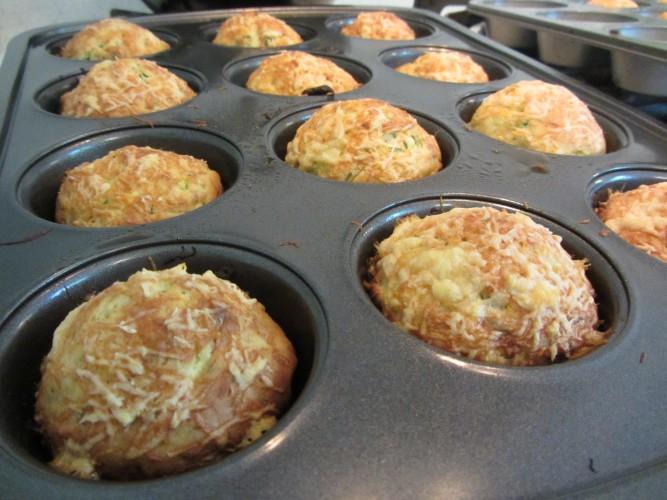 zucchini basil muffins baked