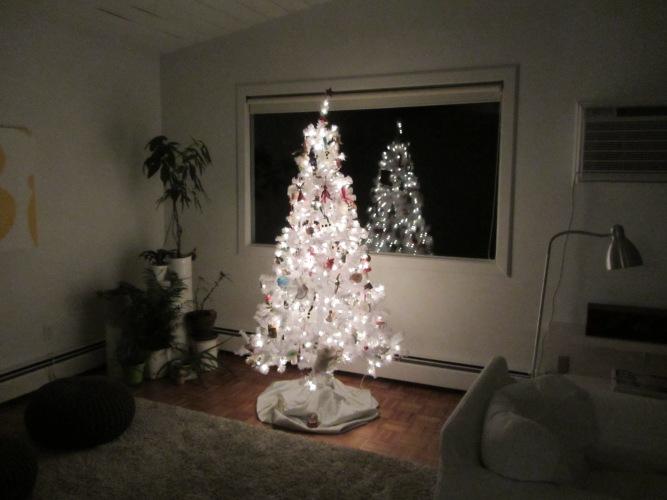 white tree reflection