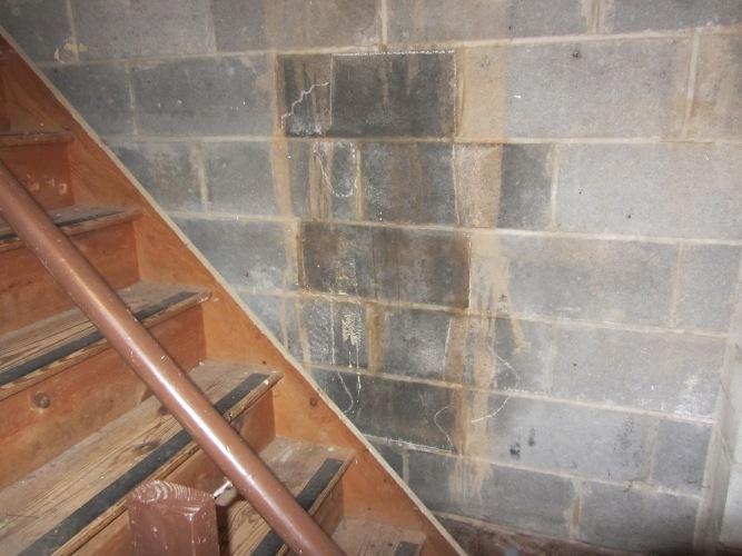 wet stain basement wall