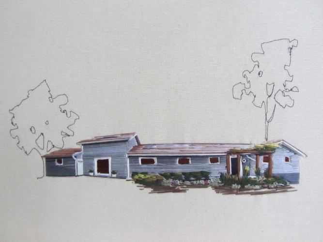 house embroidered by Stephanie K. Clark